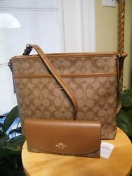 Coach NWT Large File Bag and Matching NWT Checkbook Wallet in SaddleKhaki