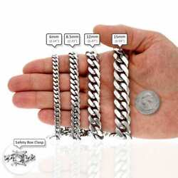 925 Sterling Silver High Polished Solid Miami Cuban Link Chain 6-15mm, 24-32