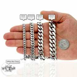 925 Sterling Silver High Polished Solid Miami Cuban Link Chain 6-15mm 24-32