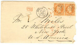France Cover - 1869 Menton To New York Usa - Rare Pair - Xf - Cover563