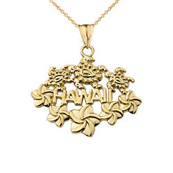 Solid 10k Yellow Gold Aloha State Hawaii Pendant Necklace