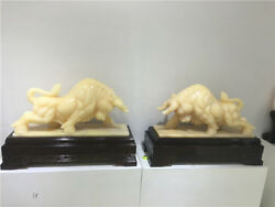 39'' Natural Afghanistan Jade One Pair Bull OX Statue With Wooden Base
