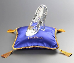 Disney Cinderella Glass Shoes Slipper With Cushion For Gift Ornament Bridal Gift