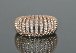 2150 14k Rose Gold 0.50ct Round Diamond Twisted Cable Design Ring Band Size 6