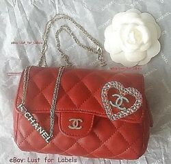 I Love CHANEL 3 Pc SET: Red Cosmetic Clutch Bag + CC Heart Brooch + Necklace Lot