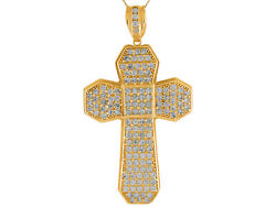 10k Or 14k Yellow Gold Dazzling White Cz Accented Religious Cross Big Pendant