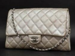 Chanel Clutch Classic Flap Quilted Jumbo Chain Leather Shoulder Bag 231197