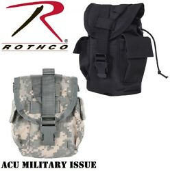 Black And Acu Camo Tactical Molle Canteen Cover Utility Pouch Rothco 40014 40114