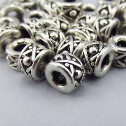 Silver Spacer Beads 8mm Antiqued Silver Plated Beads B7397 - 10, 20 Or 50pcs