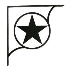 Black Star Wrought Iron Shelf Brackets For Wall Mounted Shelves - 3 Sizes Avail