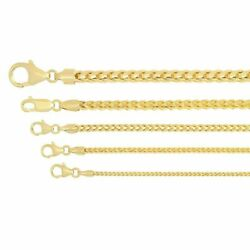 Solid 14k Yellow Gold 1.2mm-3.25mm Franco Chain Necklace Pendant Sz 16-30