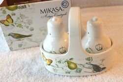 Mikasa Antique Countryside Pear Ceramic Caddy With Salt And Pepper New