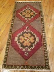 Vintage 1950-1960s Beautiful 1'6×3'2wool Pile Natural Dyes Cushion Cover Rug