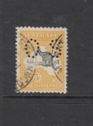 Kangaroos, Second Watermark 5/- Grey And Yellow Perf Os Sg O37, Fine Used.