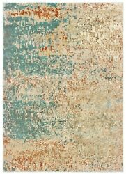 Carson By Oriental Weavers. Contemporary Abstract Area Rug. Blue/orange 9654b