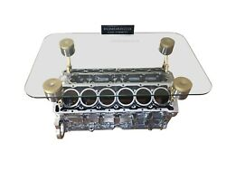 V12 Engine Block Coffee Table - Top Gear - Chrome And Gold