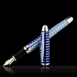 Picasso 10k Gold Nib Round Dance Of Flowers Blue Fountain Pen With Gift Box