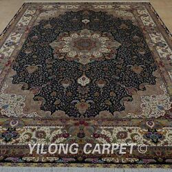 YILONG 10'x14' Persian Handknotted Silk Carpet Home Decor Large Area Rug 0346