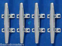 4x Chrome 4.5 Cleat Boat Marine Dock Raft Anchor Line Hq Rope Holder Tie-down