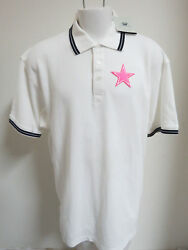 NEW Sz XL-2XL White Pink Breast Cancer Support NFL MENS Cotton #783 Polo Shirt