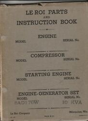 Le Roi Parts And Instruction Book Engine-generator Set 8ad176w 10kva 1922 Up