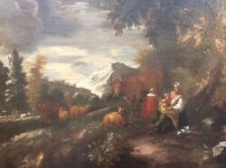 18th C. Continental Habsburg Collection Pastural Landscape Oil Painting
