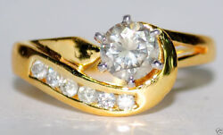 1.06ct Solitaire Natural Round Diamond 14k Yellow Gold Cluster Ring Size 7 To 9