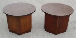 Pair 1960s 1970s Mid Century Lane Walnut Hexagon End Tables / Night Stands