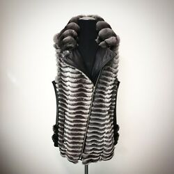 Real Chinchilla Fur Vest With Zipper Lambskin Details / Luxor Leathers And Furs