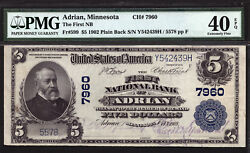 5 1902 First National Bank Of Adrian, Minnesota Ch 7960 Pmg 40 Epq Finest Known