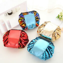Double-sided Sequin Travel Toiletry Organizer Bag Drawstring Cosmetic Makeup Bag