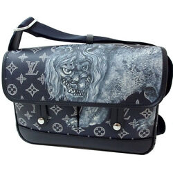 NEW LOUIS VUITTON MESSENGER PM MONOGRAM SAVANNA LION PRINT SHOULDER BAG MEN NAVY