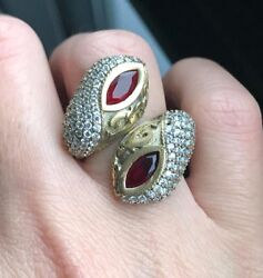 Snake Ring Jewelry Sterling Silver 925 Ruby Ring Adjustable