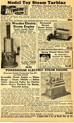 1950 Small Print Ad Of Powerhouse Electric Steam Engine, Weeden, Toy Turbine