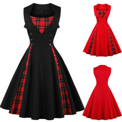 Womens Girl Vintage Check Plaid Rockabilly 1950s Swing Retro Dress Plus Size