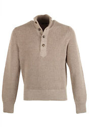 New Tom Ford Beige Funnel Collar Half Button Sweater Size 48 / 38r U.s. In Wo...