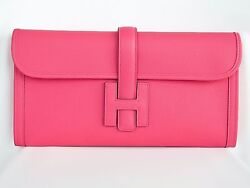 SWEET New HERMES Classic H Rose Azalee Pink 29 Elan Jige Clutch Bag