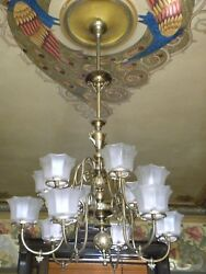 ANTIQUE 19TH-C COLONIAL REVIVAL GAS CHANDELIER MITCHELL VANCE; PERIOD SHADES