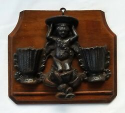 19th C. Metalware Mounted Putto Double Match Safe Or Wall Pocket