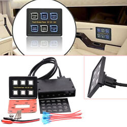 6 Gang LED Touch Screen Panel Switch Controls For Car Boat Truck Marine DC1224V
