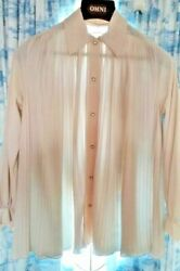 Cute!  Vanity Fair Blouse with crystal buttons Tan--Nice Condition