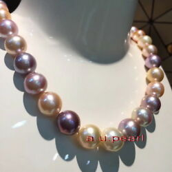 Top Luster 1713-15mm Real South Sea Purple Pink Multicolor Pearl Necklace 14k