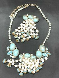 Rare Hobe Gilt Enameled Blue Cabachon/pearl Dangles/rhinestone Necklace And Brooch