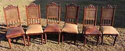 Six Antique 19th Century French Henri Ii Cane And Leather Side Dining Chairs