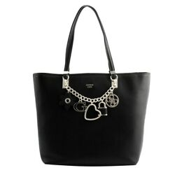 shopping bag tote Guess woman eco-leather black pendants on a chain Gold. zipper