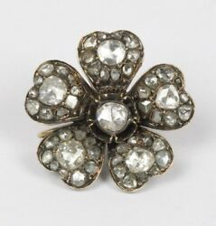Georgian 2.5 Carats Rose Cut Diamond Silver And Gold Forget Me Not Flower Brooch