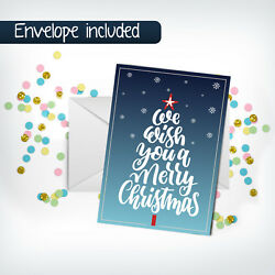 Wish You Merry Christmas Greeting Cards+envelope Holiday Blessing Gift Postcard