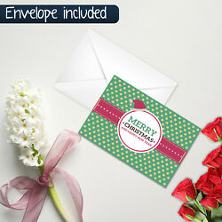 Merry Christmas Greeting Cards New Year Holiday Gift Postcard With Envelope