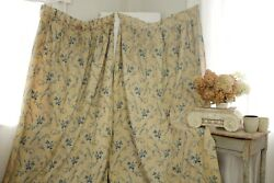 Set Antique Curtains French Blue Floral 1860 Printed Drapes Country Rose Sprig