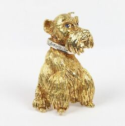 Vintage 18K Gold and Diamond Scottish Terrier Dog Brooch Pin